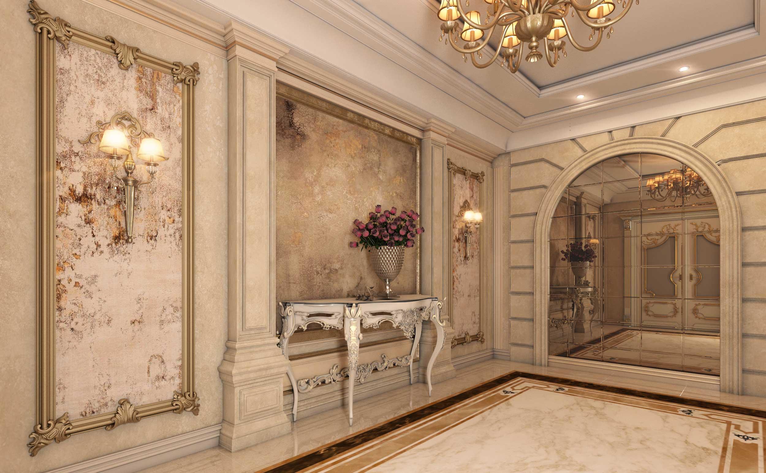 طراحی لابی کلاسیک گروه معماری سعیدیان