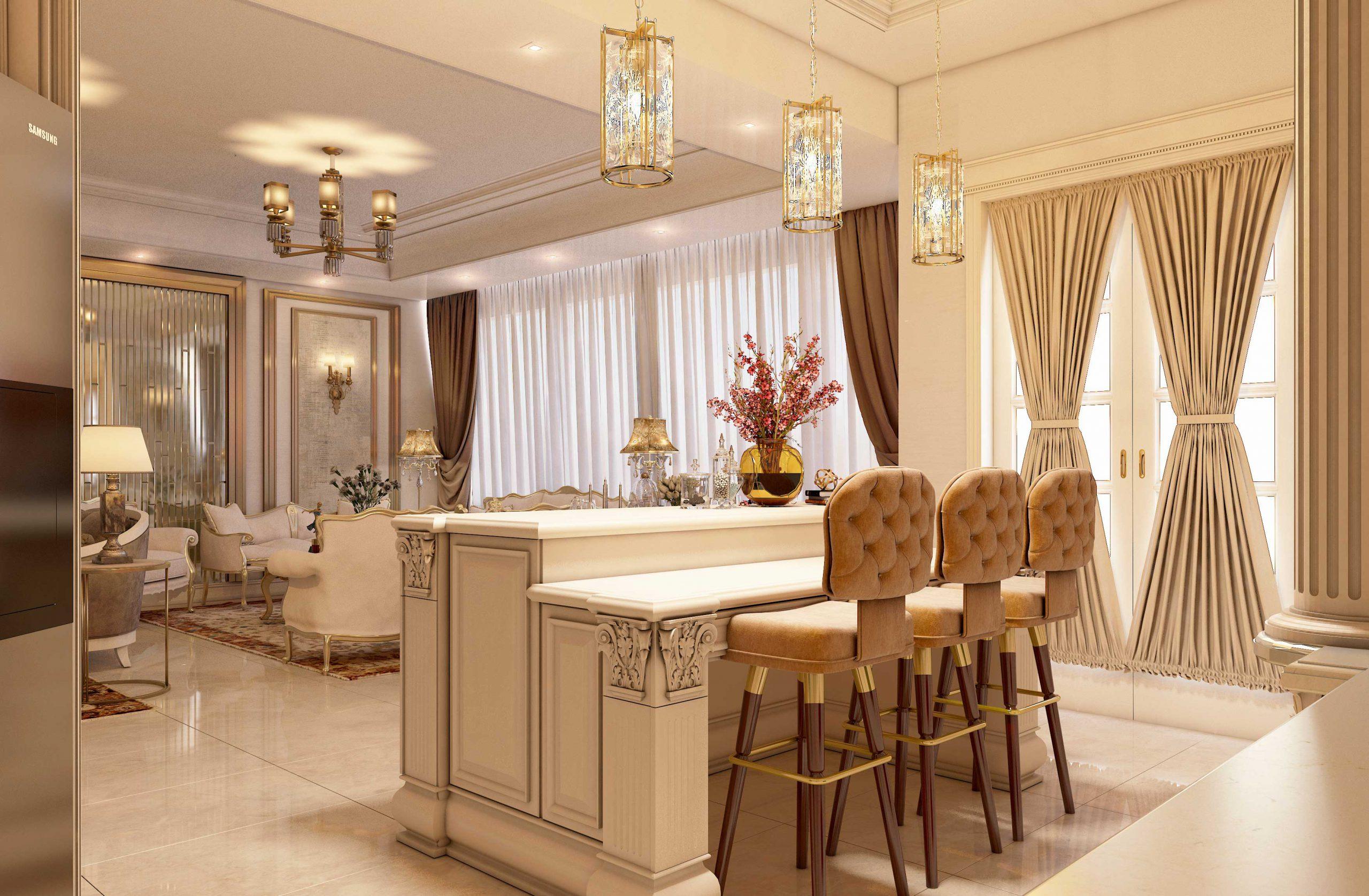 طراحی آشپزخانه کلاسیک گروه معماری سعیدیان