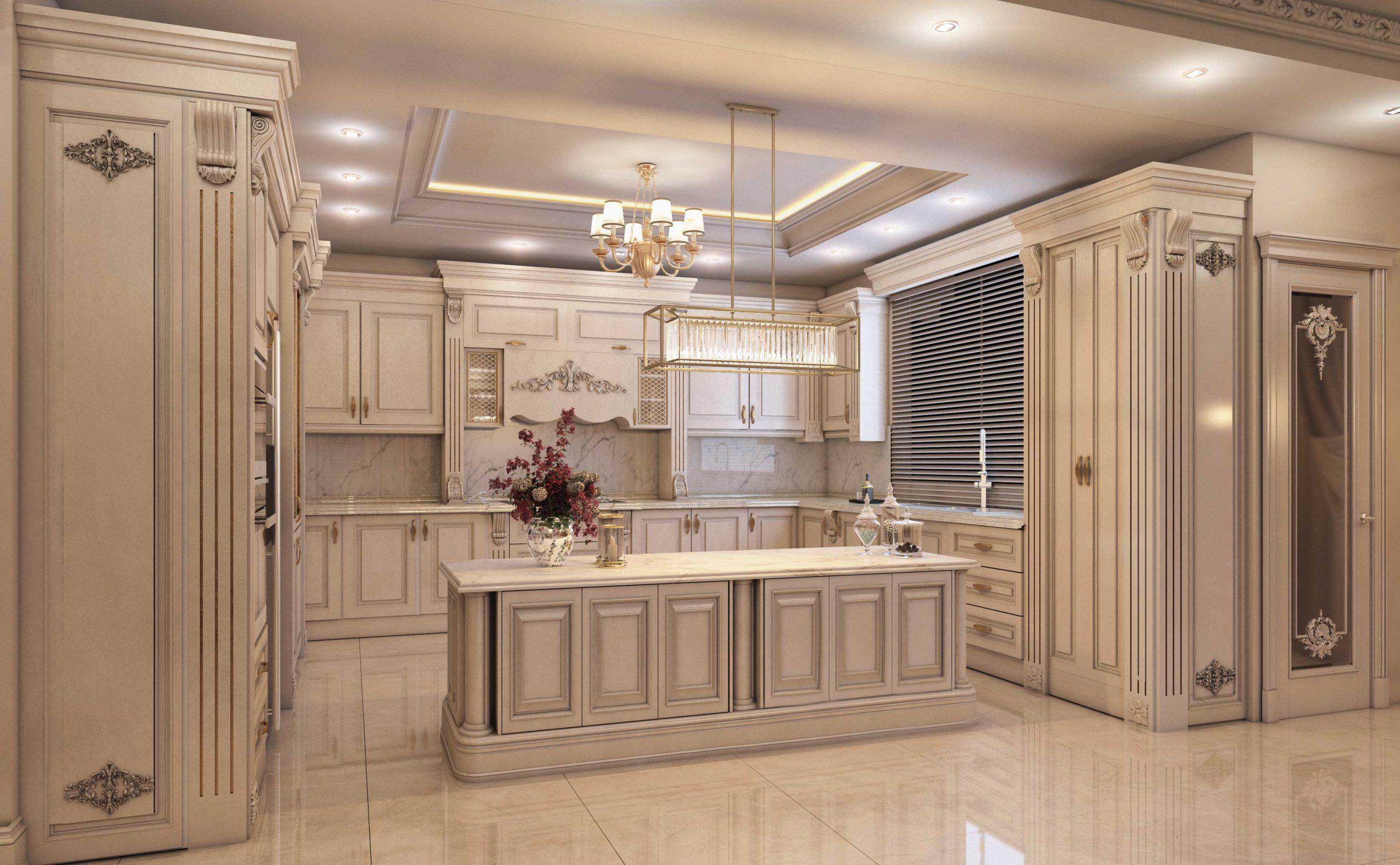 طراحی آشپزخانه کلاسیک لوکس